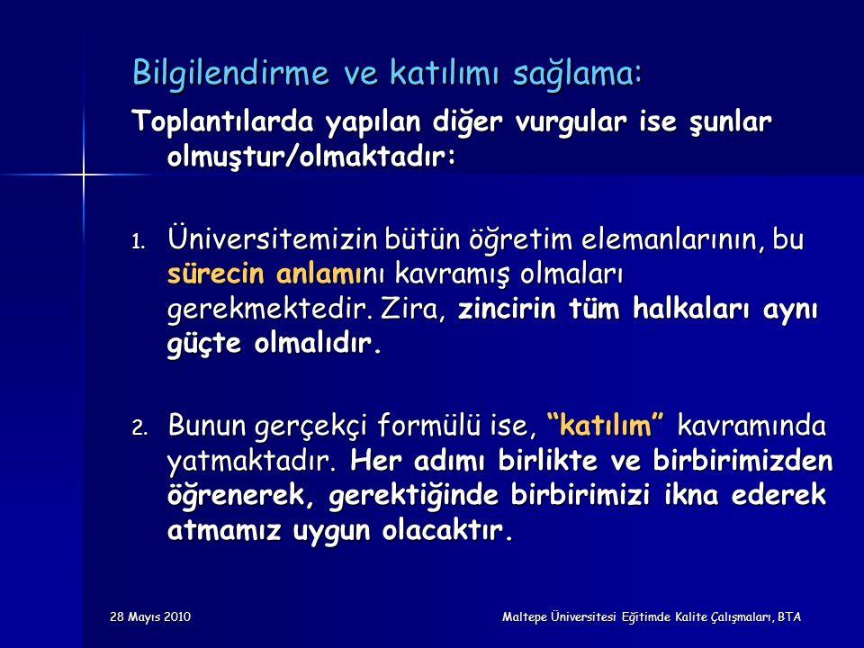 28 Mayıs 2010 Maltepe Üniversitesi Eğitimde Kalite Çalışmaları, BTA Bilgilendirme ve katılımı sağlama: Toplantılarda yapılan diğer vurgular ise şunlar