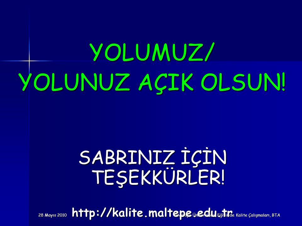 28 Mayıs 2010 Maltepe Üniversitesi Eğitimde Kalite Çalışmaları, BTA YOLUMUZ/ YOLUNUZ AÇIK OLSUN! SABRINIZ İÇİN TEŞEKKÜRLER! http://kalite.maltepe.edu.