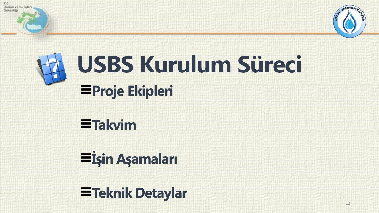 Proje Ekipleri Takvim İşin Aşamaları Teknik Detaylar USBS Kurulum Süreci 12