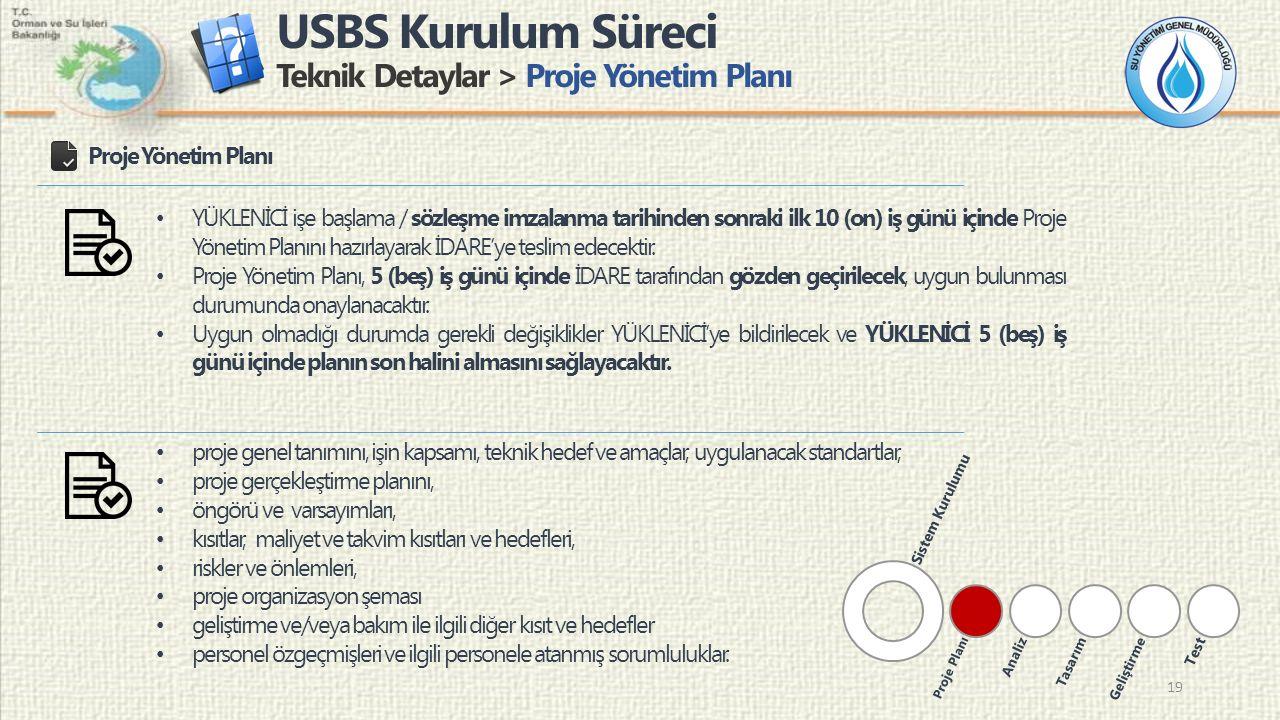 USBS Kurulum Süreci Teknik Detaylar > Proje Yönetim Planı 19 Proje Yönetim Planı proje genel tanımını, işin kapsamı, teknik hedef ve amaçlar, uygulana