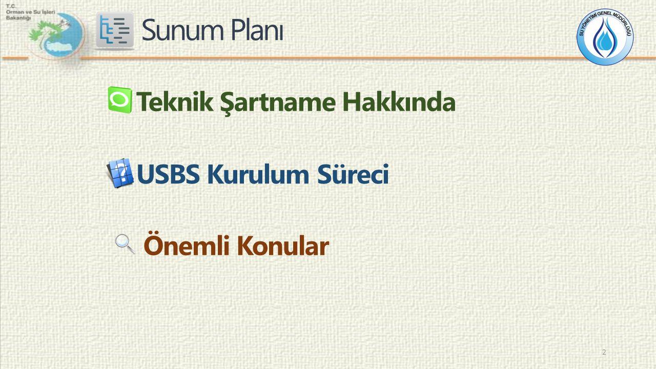 Sunum Planı USBS Kurulum Süreci Önemli Konular Teknik Şartname Hakkında 2