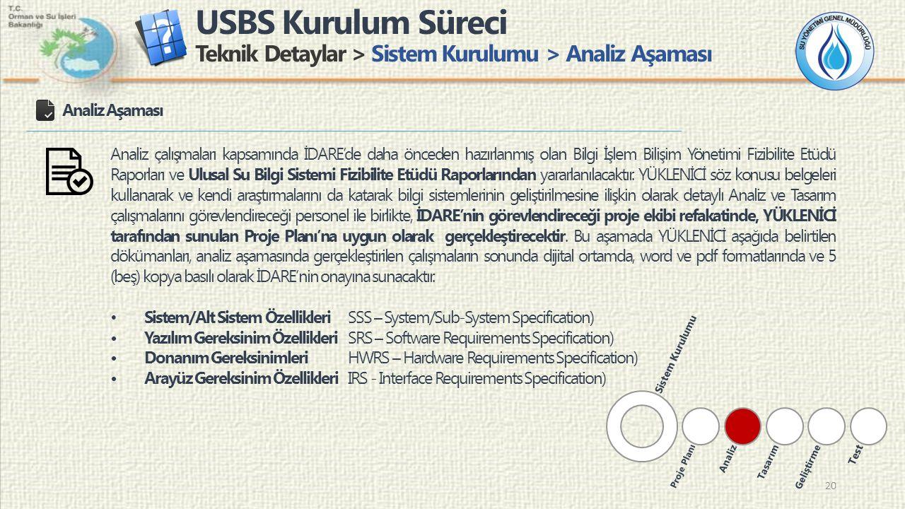 USBS Kurulum Süreci Teknik Detaylar > Sistem Kurulumu > Analiz Aşaması 20 Analiz Aşaması Analiz çalışmaları kapsamında İDARE'de daha önceden hazırlanm