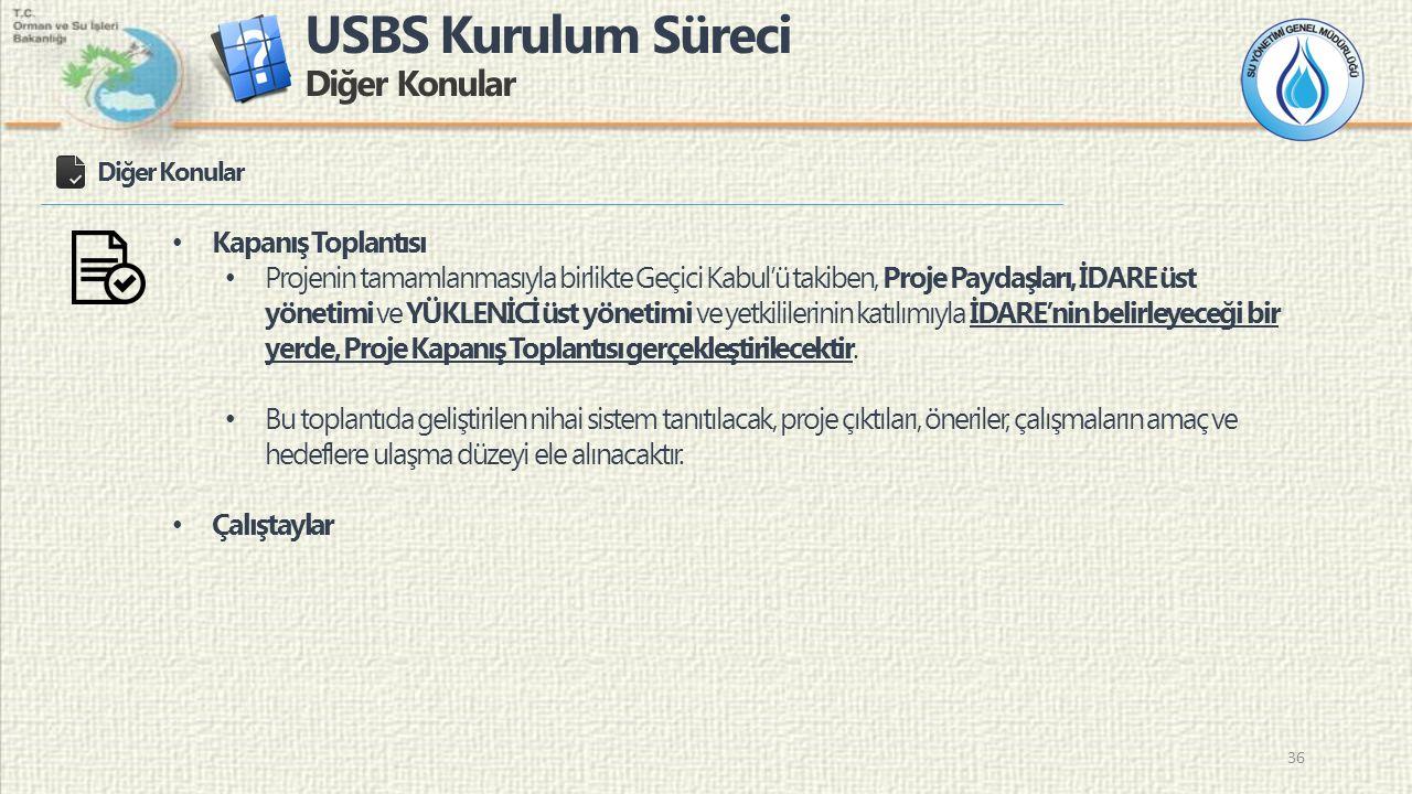 USBS Kurulum Süreci Diğer Konular 36 Diğer Konular Kapanış Toplantısı Projenin tamamlanmasıyla birlikte Geçici Kabul'ü takiben, Proje Paydaşları, İDAR