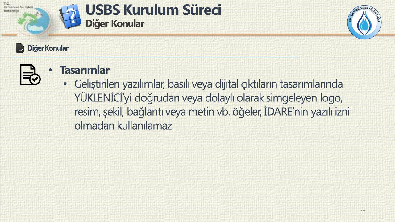 USBS Kurulum Süreci Diğer Konular 37 Diğer Konular Tasarımlar Geliştirilen yazılımlar, basılı veya dijital çıktıların tasarımlarında YÜKLENİCİ'yi doğr