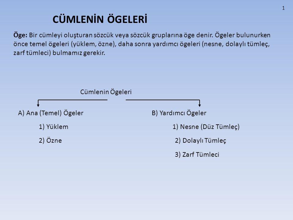 A) TEMEL ÖGELER 1) YÜKLEM Cümlede anlatılan iş, oluş ve hareketi ya da yargıyı üzerinde taşıyan ögedir.