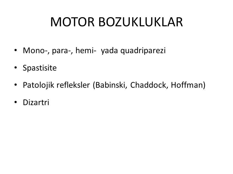 MOTOR BOZUKLUKLAR Mono-, para-, hemi- yada quadriparezi Spastisite Patolojik refleksler (Babinski, Chaddock, Hoffman) Dizartri