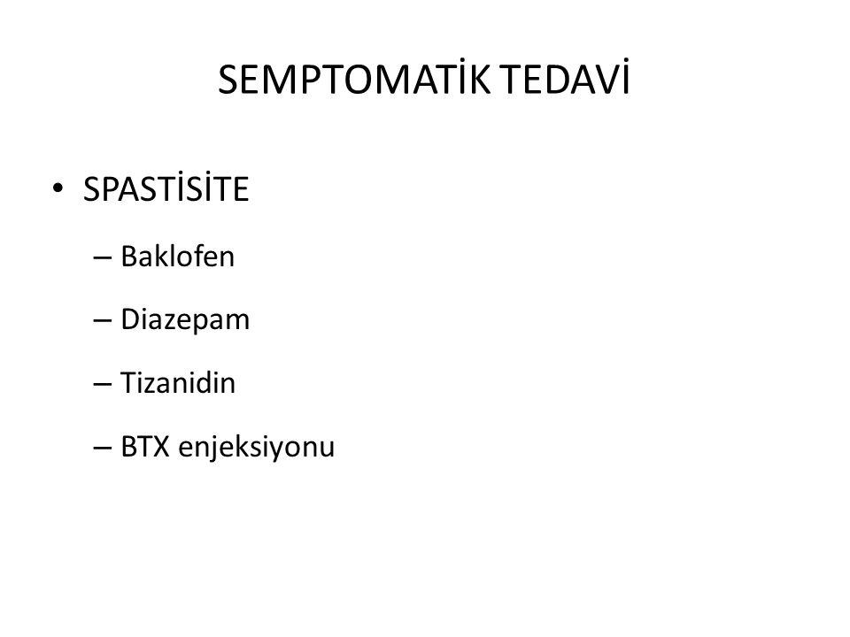 SEMPTOMATİK TEDAVİ SPASTİSİTE – Baklofen – Diazepam – Tizanidin – BTX enjeksiyonu