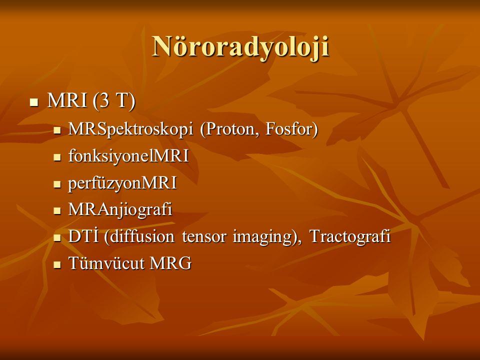 Nöroradyoloji MRI (3 T) MRI (3 T) MRSpektroskopi (Proton, Fosfor) MRSpektroskopi (Proton, Fosfor) fonksiyonelMRI fonksiyonelMRI perfüzyonMRI perfüzyon