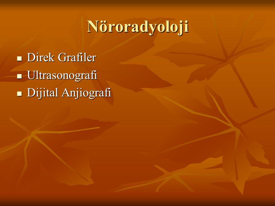 Nöroradyoloji Direk Grafiler Direk Grafiler Ultrasonografi Ultrasonografi Dijital Anjiografi Dijital Anjiografi