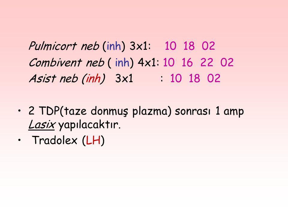Pulmicort neb (inh) 3x1: 10 18 02 Combivent neb ( inh) 4x1: 10 16 22 02 Asist neb (inh) 3x1 : 10 18 02 2 TDP(taze donmuş plazma) sonrası 1 amp Lasix yapılacaktır.