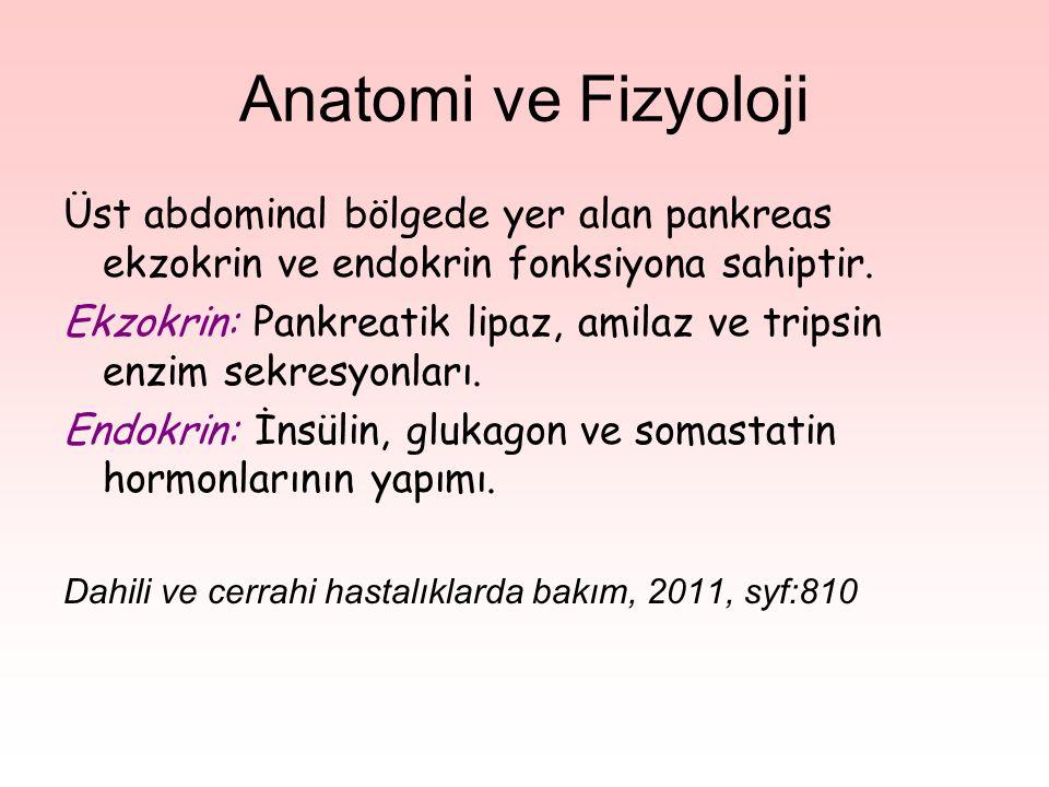 Anatomi ve Fizyoloji Üst abdominal bölgede yer alan pankreas ekzokrin ve endokrin fonksiyona sahiptir. Ekzokrin: Pankreatik lipaz, amilaz ve tripsin e