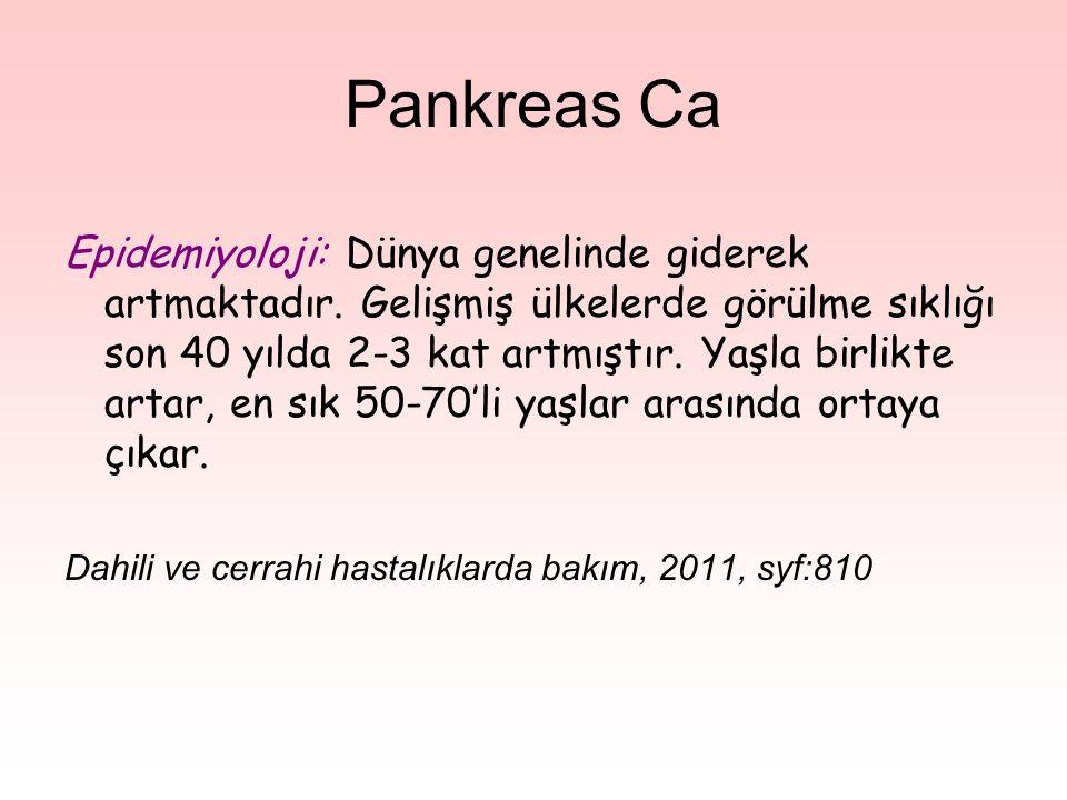 Pankreas Ca Epidemiyoloji: Dünya genelinde giderek artmaktadır.
