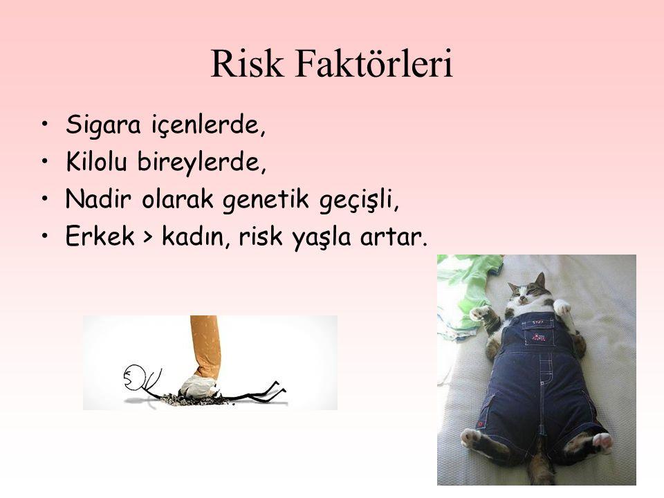 Risk Faktörleri Sigara içenlerde, Kilolu bireylerde, Nadir olarak genetik geçişli, Erkek > kadın, risk yaşla artar.
