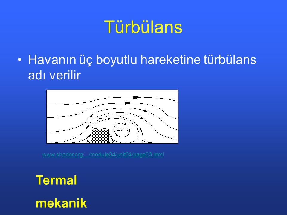 Türbülans Havanın üç boyutlu hareketine türbülans adı verilir www.shodor.org/.../module04/unit04/page03.html Termal mekanik