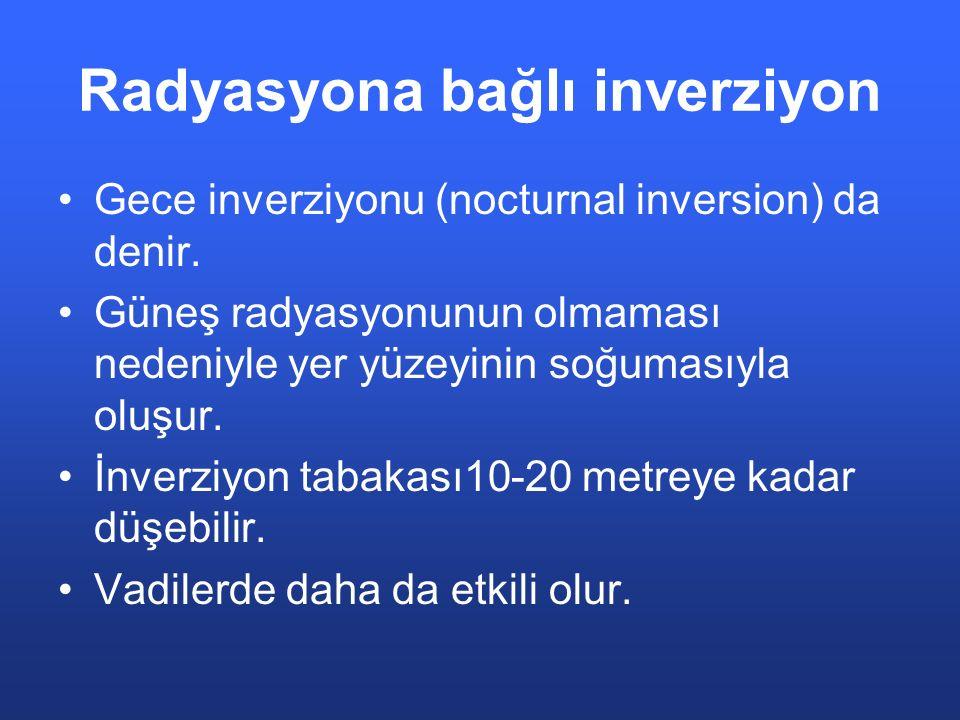 Radyasyona bağlı inverziyon Gece inverziyonu (nocturnal inversion) da denir. Güneş radyasyonunun olmaması nedeniyle yer yüzeyinin soğumasıyla oluşur.