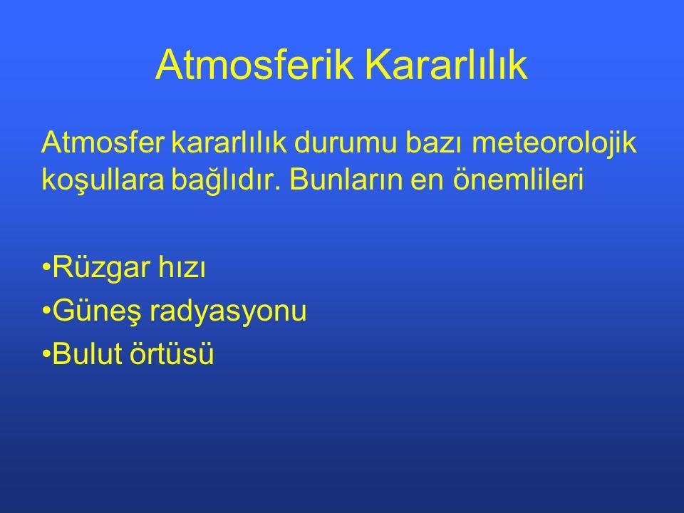 Atmosferik Kararlılık Atmosfer kararlılık durumu bazı meteorolojik koşullara bağlıdır. Bunların en önemlileri Rüzgar hızı Güneş radyasyonu Bulut örtüs