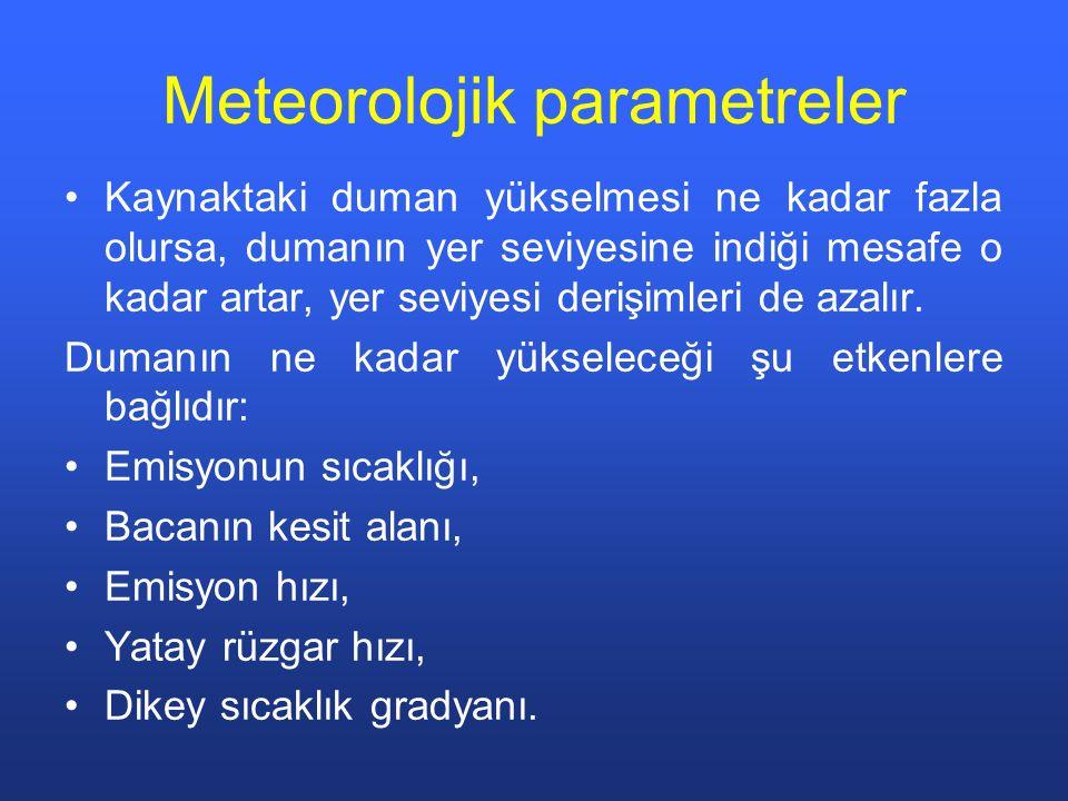Meteorolojik parametreler Kaynaktaki duman yükselmesi ne kadar fazla olursa, dumanın yer seviyesine indiği mesafe o kadar artar, yer seviyesi derişimleri de azalır.