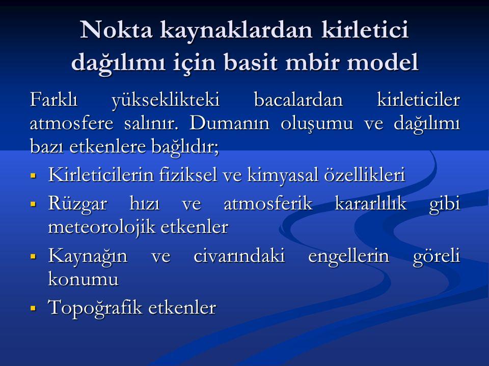 Nokta kaynaklardan kirletici dağılımı için basit mbir model Farklı yükseklikteki bacalardan kirleticiler atmosfere salınır.