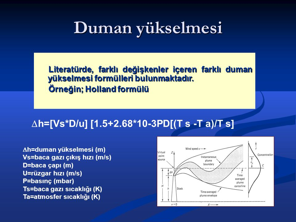 Duman yükselmesi Literatürde, farklı değişkenler içeren farklı duman yükselmesi formülleri bulunmaktadır. Örneğin; Holland formülü  h=[Vs*D/u] [1.5+2