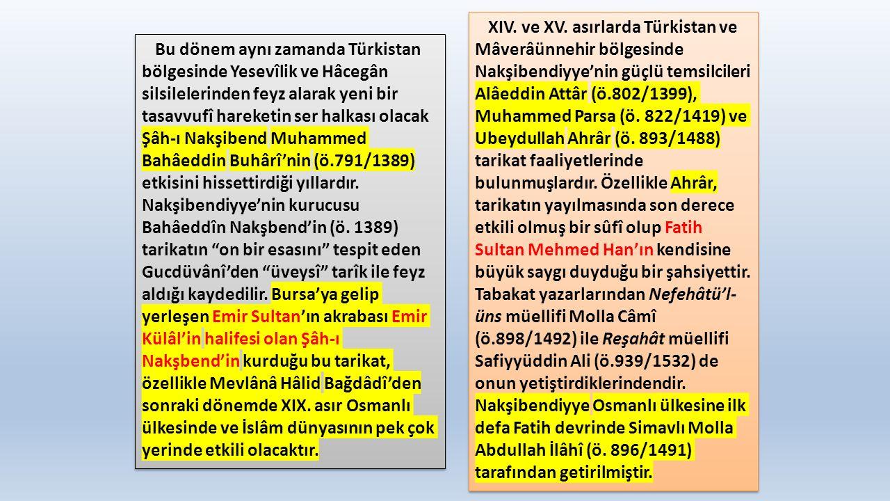 Bu dönem aynı zamanda Türkistan bölgesinde Yesevîlik ve Hâcegân silsilelerinden feyz alarak yeni bir tasavvufî hareketin ser halkası olacak Şâh-ı Nakşibend Muhammed Bahâeddin Buhârî'nin (ö.791/1389) etkisini hissettirdiği yıllardır.
