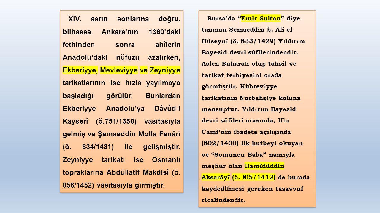 XIV. asrın sonlarına doğru, bilhassa Ankara'nın 1360'daki fethinden sonra ahîlerin Anadolu'daki nüfuzu azalırken, Ekberiyye, Mevleviyye ve Zeyniyye ta