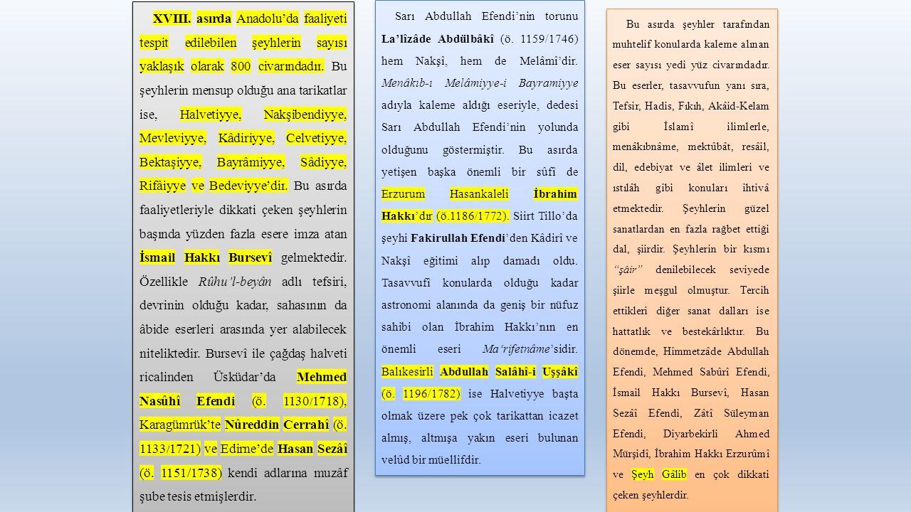 XVIII. asırda Anadolu'da faaliyeti tespit edilebilen şeyhlerin sayısı yaklaşık olarak 800 civarındadır. Bu şeyhlerin mensup olduğu ana tarikatlar ise,