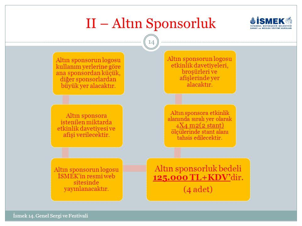 II – Altın Sponsorluk Altın sponsorun logosu kullanım yerlerine göre ana sponsordan küçük, diğer sponsorlardan büyük yer alacaktır.