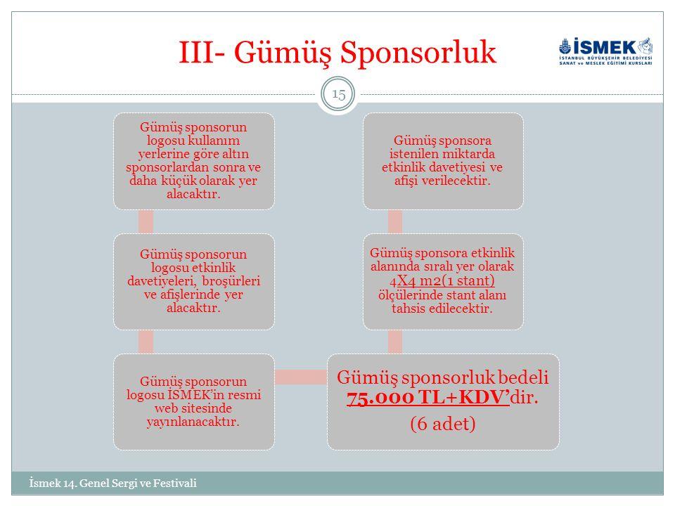 III- Gümüş Sponsorluk Gümüş sponsorun logosu kullanım yerlerine göre altın sponsorlardan sonra ve daha küçük olarak yer alacaktır.