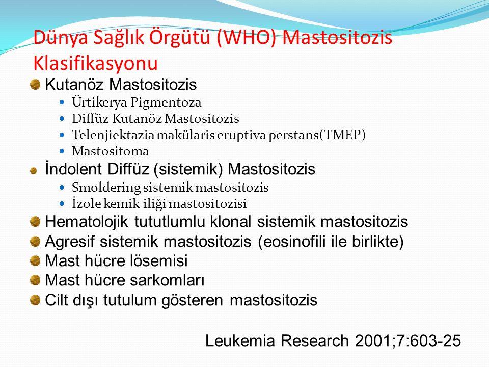 Dünya Sağlık Örgütü (WHO) Mastositozis Klasifikasyonu Kutanöz Mastositozis Ürtikerya Pigmentoza Diffüz Kutanöz Mastositozis Telenjiektazia makülaris e