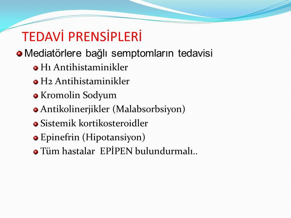 TEDAVİ PRENSİPLERİ Mediatörlere bağlı semptomların tedavisi H1 Antihistaminikler H2 Antihistaminikler Kromolin Sodyum Antikolinerjikler (Malabsorbsiyo