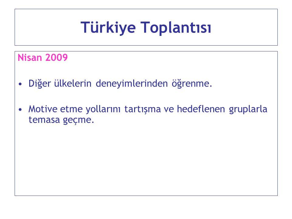 Türkiye Toplantısı Nisan 2009 Diğer ülkelerin deneyimlerinden öğrenme. Motive etme yollarını tartışma ve hedeflenen gruplarla temasa geçme.
