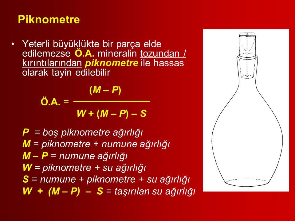 Piknometre Yeterli büyüklükte bir parça elde edilemezse Ö.A. mineralin tozundan / kırıntılarından piknometre ile hassas olarak tayin edilebilir (M – P