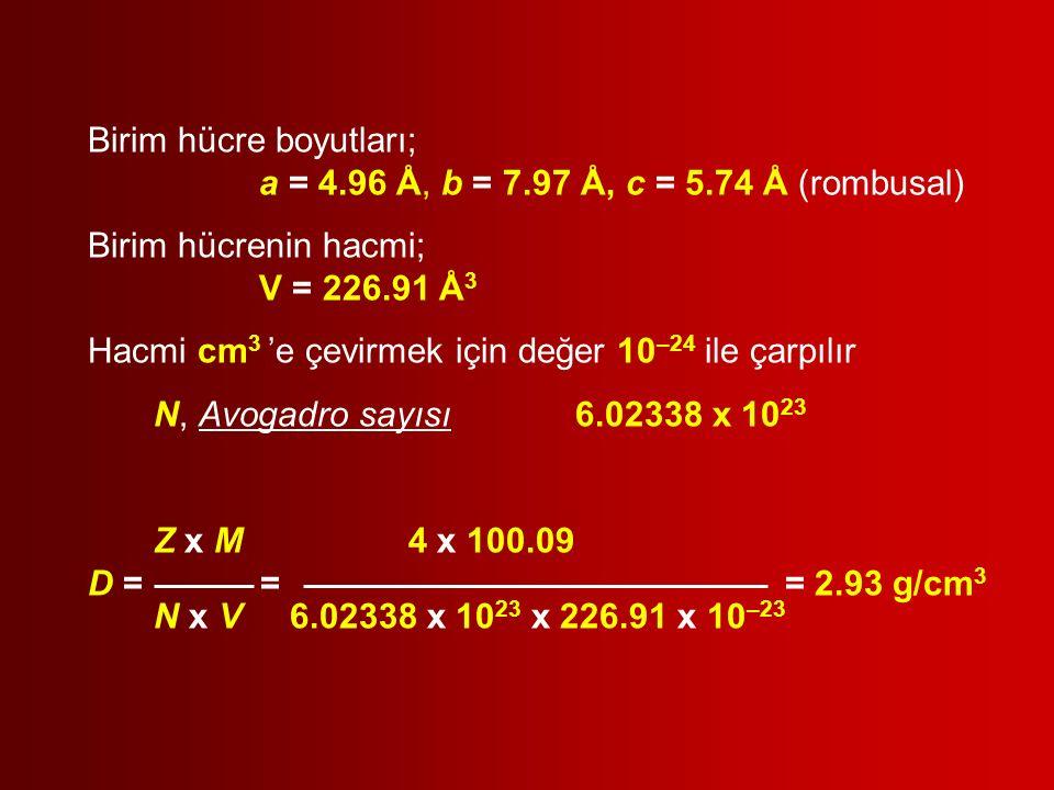 Birim hücre boyutları; a = 4.96 Å, b = 7.97 Å, c = 5.74 Å (rombusal) Birim hücrenin hacmi; V = 226.91 Å 3 Hacmi cm 3 'e çevirmek için değer 10 –24 ile