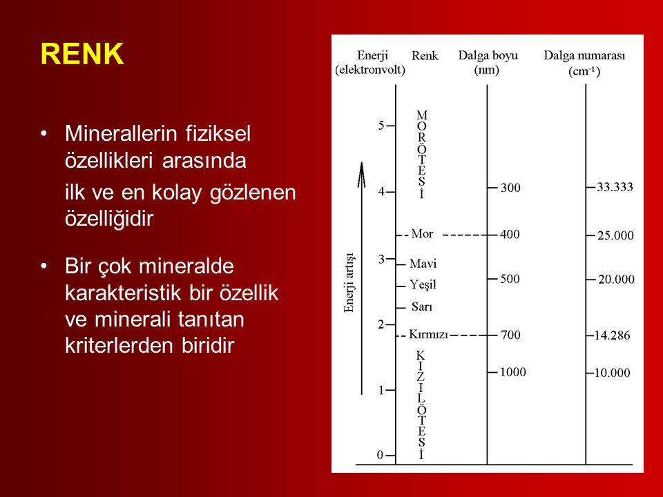 RENK Minerallerin fiziksel özellikleri arasında ilk ve en kolay gözlenen özelliğidir Bir çok mineralde karakteristik bir özellik ve minerali tanıtan k