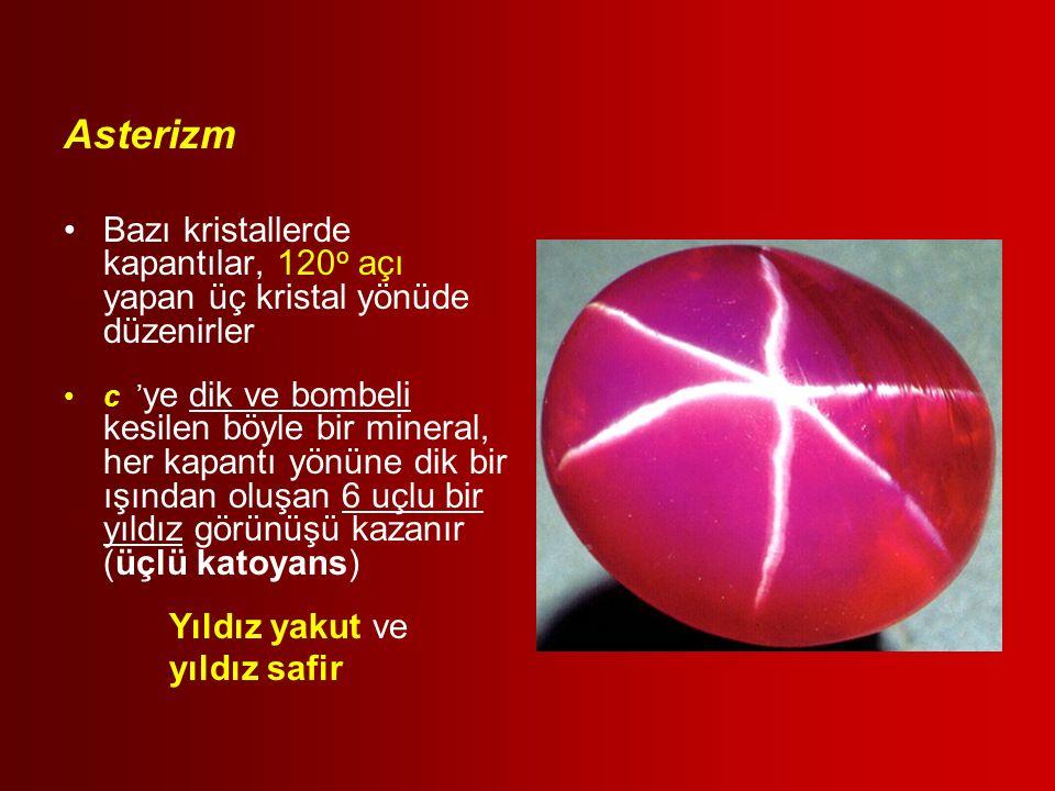 Asterizm Bazı kristallerde kapantılar, 120 o açı yapan üç kristal yönüde düzenirler c ' ye dik ve bombeli kesilen böyle bir mineral, her kapantı yönün