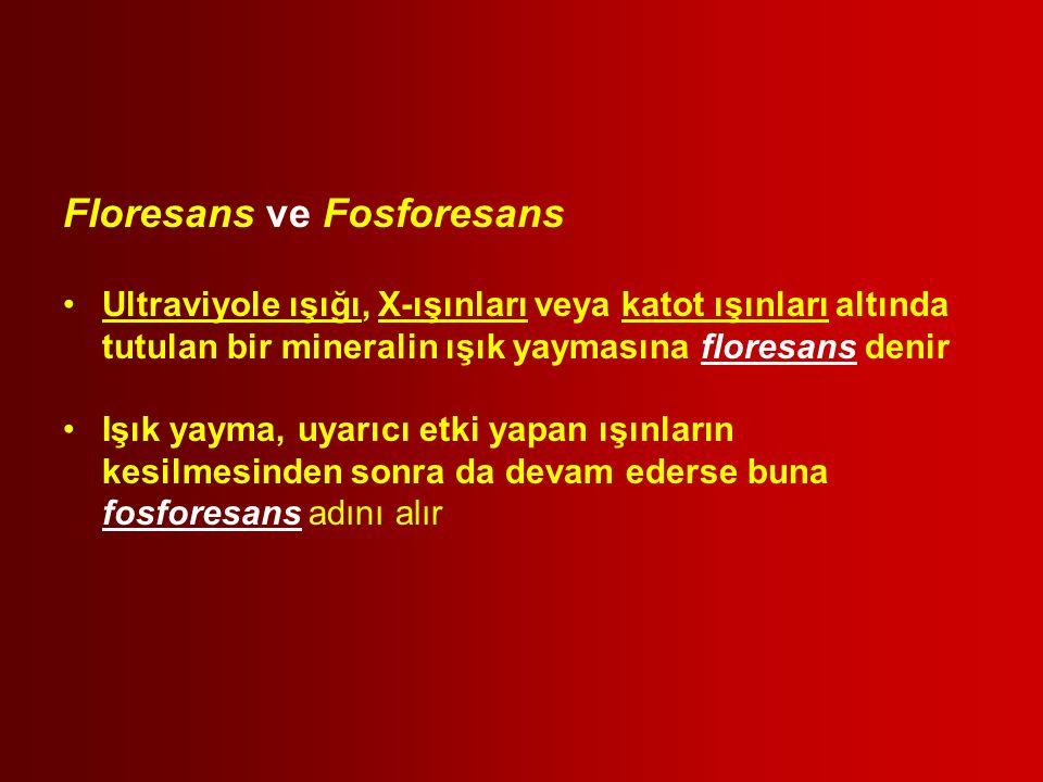 Floresans ve Fosforesans Ultraviyole ışığı, X-ışınları veya katot ışınları altında tutulan bir mineralin ışık yaymasına floresans denir Işık yayma, uy