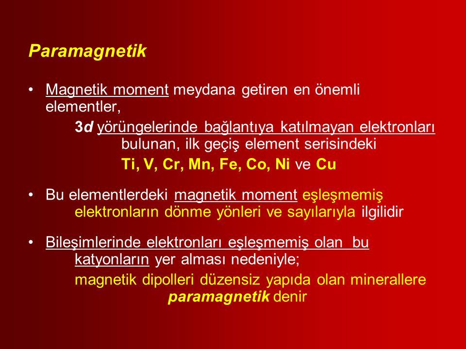 Paramagnetik Magnetik moment meydana getiren en önemli elementler, 3d yörüngelerinde bağlantıya katılmayan elektronları bulunan, ilk geçiş element ser
