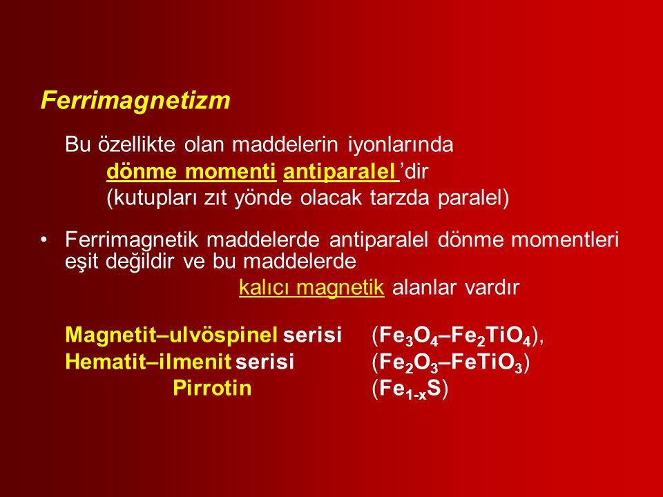 Ferrimagnetizm Bu özellikte olan maddelerin iyonlarında dönme momenti antiparalel 'dir (kutupları zıt yönde olacak tarzda paralel) Ferrimagnetik madde