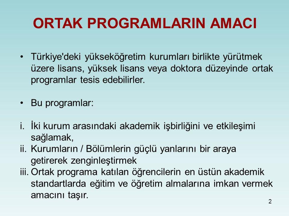 2 ORTAK PROGRAMLARIN AMACI Türkiye'deki yükseköğretim kurumları birlikte yürütmek üzere lisans, yüksek lisans veya doktora düzeyinde ortak programlar