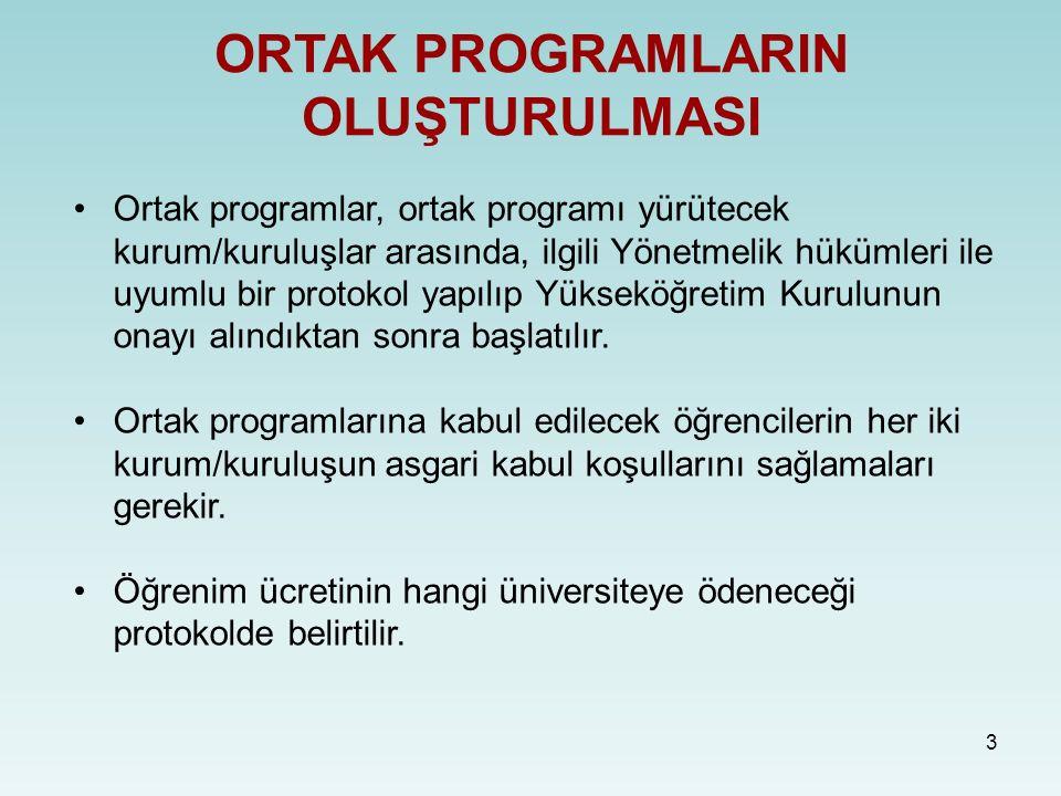 3 ORTAK PROGRAMLARIN OLUŞTURULMASI Ortak programlar, ortak programı yürütecek kurum/kuruluşlar arasında, ilgili Yönetmelik hükümleri ile uyumlu bir protokol yapılıp Yükseköğretim Kurulunun onayı alındıktan sonra başlatılır.