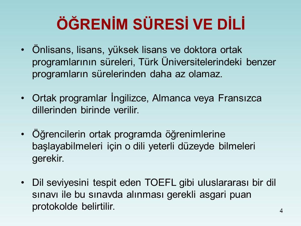 4 ÖĞRENİM SÜRESİ VE DİLİ Önlisans, lisans, yüksek lisans ve doktora ortak programlarının süreleri, Türk Üniversitelerindeki benzer programların sürelerinden daha az olamaz.