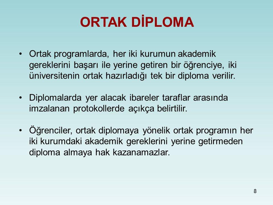 8 ORTAK DİPLOMA Ortak programlarda, her iki kurumun akademik gereklerini başarı ile yerine getiren bir öğrenciye, iki üniversitenin ortak hazırladığı tek bir diploma verilir.