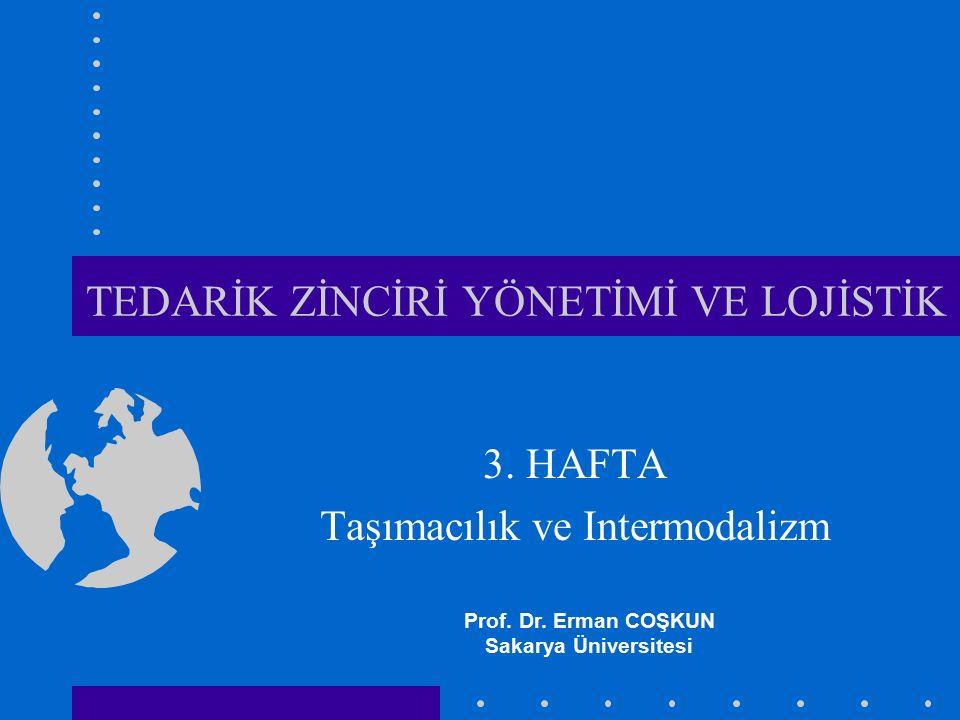 TEDARİK ZİNCİRİ YÖNETİMİ VE LOJİSTİK 3. HAFTA Taşımacılık ve Intermodalizm Prof. Dr. Erman COŞKUN Sakarya Üniversitesi