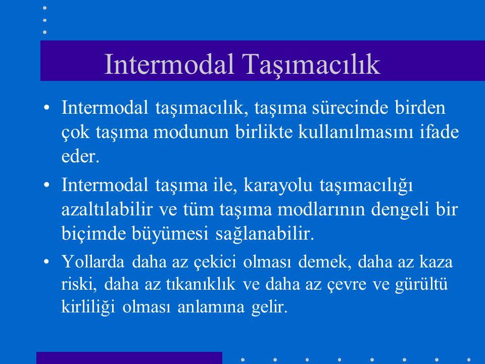 Intermodal Taşımacılık Intermodal taşımacılık, taşıma sürecinde birden çok taşıma modunun birlikte kullanılmasını ifade eder. Intermodal taşıma ile, k