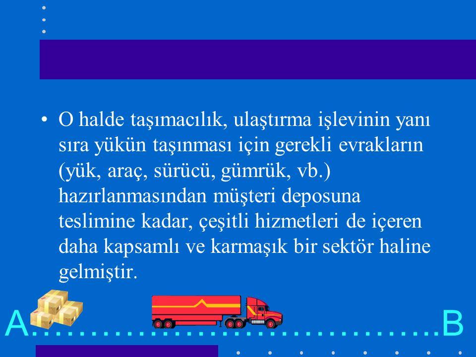 O halde taşımacılık, ulaştırma işlevinin yanı sıra yükün taşınması için gerekli evrakların (yük, araç, sürücü, gümrük, vb.) hazırlanmasından müşteri d