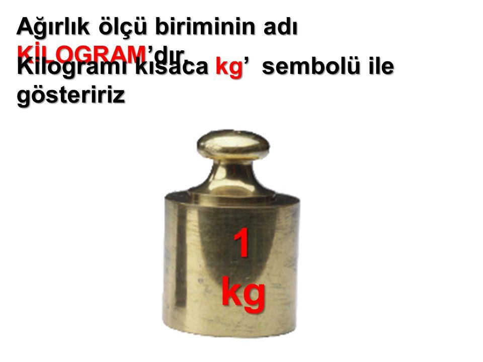 Ağırlık ölçü biriminin adı KİLOGRAM'dır. Kilogramı kısaca kg' sembolü ile gösteririz 1kg