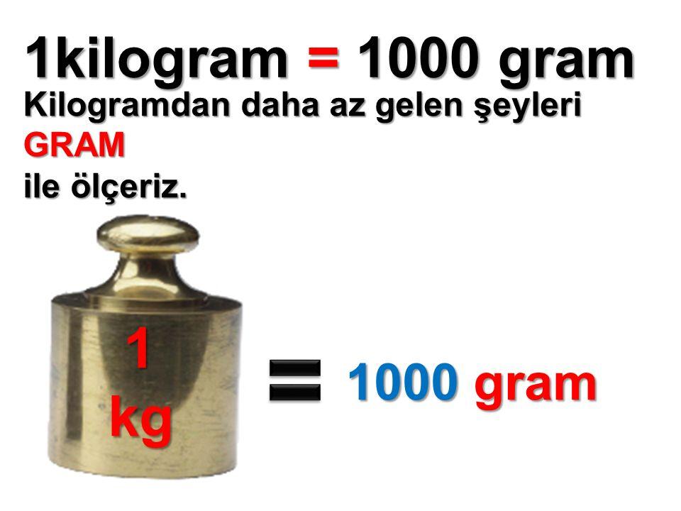 1kilogram = 1000 gram Kilogramdan daha az gelen şeyleri GRAM ile ölçeriz. 1kg 1000 gram 1000 gram