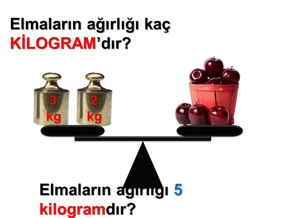 Elmaların ağırlığı kaç KİLOGRAM'dır 2kg 3kg Elmaların ağırlığı 5 kilogramdır