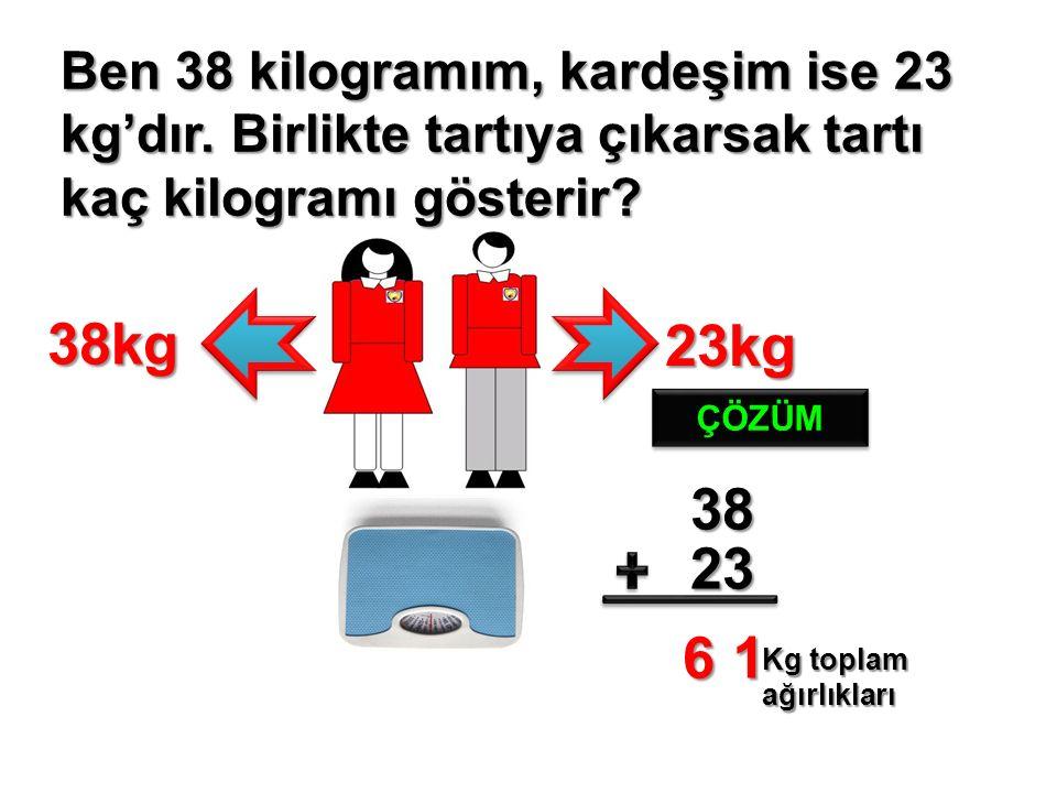 Ben 38 kilogramım, kardeşim ise 23 kg'dır. Birlikte tartıya çıkarsak tartı kaç kilogramı gösterir.
