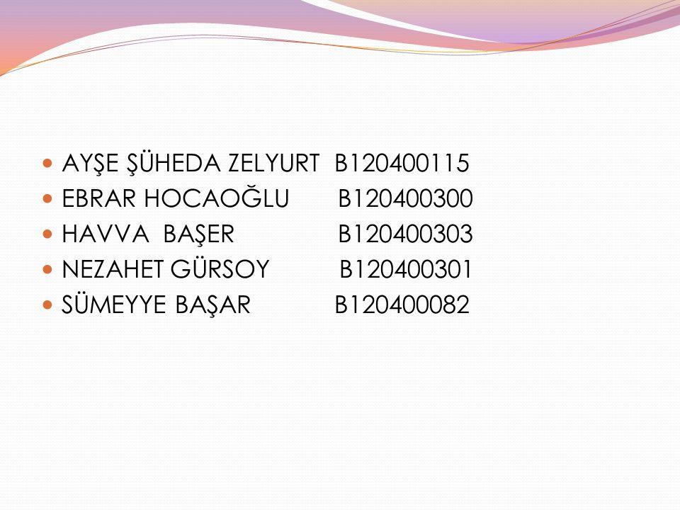 AYŞE ŞÜHEDA ZELYURT B120400115 EBRAR HOCAOĞLU B120400300 HAVVA BAŞER B120400303 NEZAHET GÜRSOY B120400301 SÜMEYYE BAŞAR B120400082